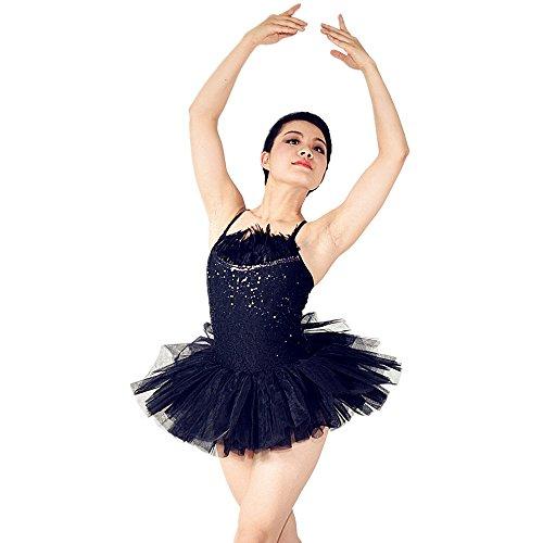 MiDee Black Feather Black Swan Tutu Adult Ballet Leotard Ballerina Dress Ballet Tutu Dancewear Contemporary Dance Costumes (IC, (Swan Ballet Costume)