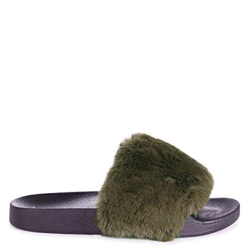 Linzi Kendall - Khaki Faux Fur Sliders Khaki zvu02CvH
