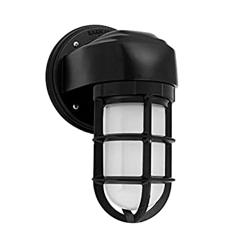 "Barn Light BLE-QSA-G-CGG-G3-100-FST Barn Light Atomic Topless Streamline Industrial Guard Sconce, QUICK SHIP, 6.5"", Black"