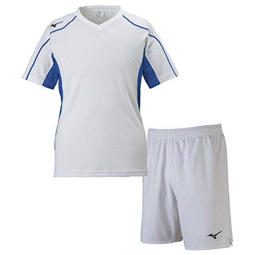 見る指導する送ったミズノ(MIZUNO) フィールドシャツ&フィールドパンツ 上下セット(ホワイトサーフブルー/ホワイト) P2MA8020-72-P2MB8020-01