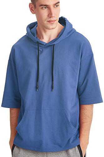 Zengjo Men's Short Sleeve Active Lightweight Sweatshirt Hoodie Solid Fashion Hooded T-Shirt (S, Blue)