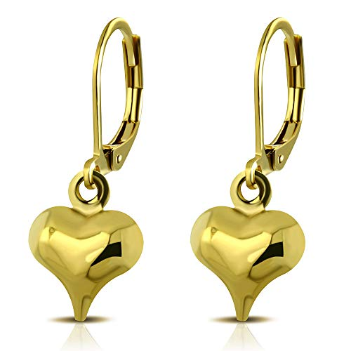 555Jewelry Womens Stainless Steel Heart Love Cute Dangle Drop Stud Dainty Small Simple Smooth Casual Everyday Gift Box Girls Kids Jewelry Fashion Accessory Lever Back Earrings, Yellow Gold ()