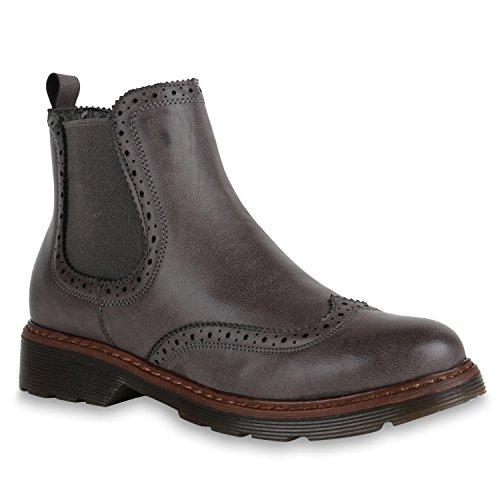 Leicht Gefütterte Damen Chelsea Boots Profilsohle Stiefeletten Flandell Grau Brito