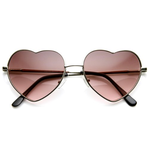 zeroUV - Small Thin Metal Heart Shaped Frame Cupid Sunglasses (Silver Lavender)