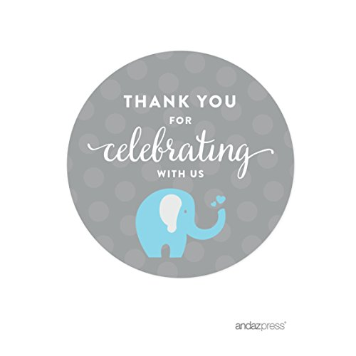 Round Baby Shower Labels (Andaz Press Boy Elephant Baby Shower Collection, Round Circle Label Stickers, Thank You for Celebrating with Us!, 40-Pack)