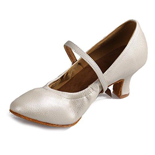 Moderna Escmj Zapatos 5003 Latino zapatos zapatos Mujeres Baile Cuero Hipposeus Danza De Danza zapatos Las modelo Blanco Salón 8APWaUZna