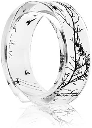 New Arrival Handmade Birds and Branches Transparent Resin/Plastic Women/Men's Charm Ring
