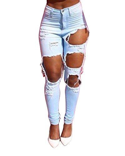 Claro Alta Boyfriend Azul Cintura Pantalones Slim Pencil Slim Pantalones Skinny vwtzU