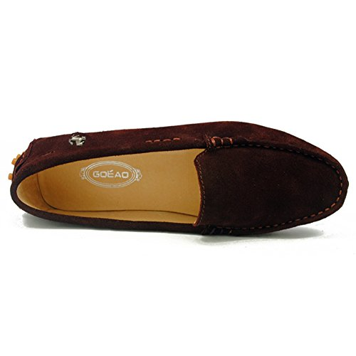 Tda Womens Conduite Confortable Marche Trail Running Chaussures Bateau Slip-on Flâneurs Mocassins Marron