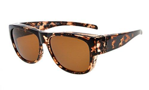 Eyekepper Polarized Fitover Sunglasses for Prescription Glasses (White Tortoise/Brown (White Contact Lenses For Sale)