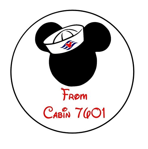 Set of 20 Mickey Mouse Head Disney Fish Extender Round-Stickers or Labels For Envelopes or Favor Boxes, etc. Wording can be changed! Perfect for your Disney Cruise!