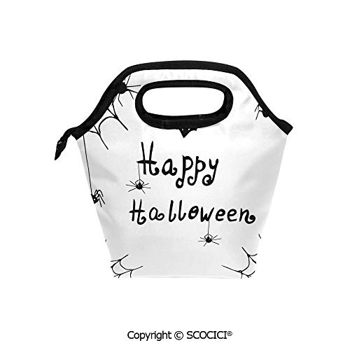 (Printed Pattern Portable Lunch Tote Bag Happy Halloween Celebration Monochrome Hand Drawn Style Creepy Doodle Artwork insulation cold outdoor picnic lunch box)
