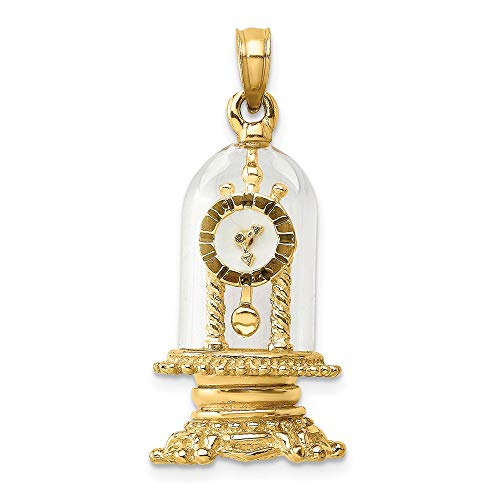 - 14k Yellow Gold Enamel 3-D Moveable Clock In Glass Dome Charm
