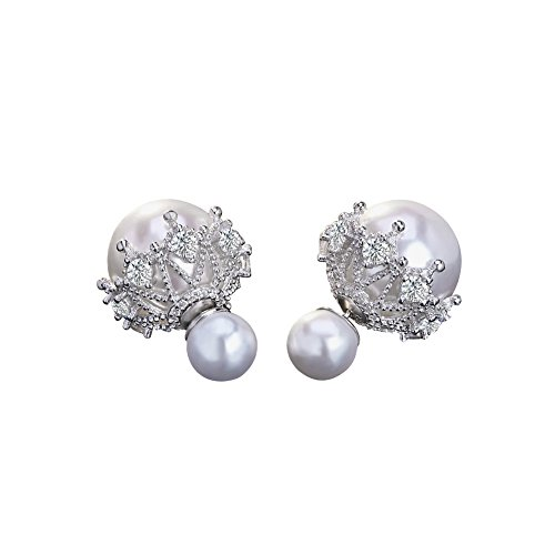 Cuicanstar Women's Silver Plated Double Sides Round Faux Pearl Rhinestones Stud Earrings CZ Hollow Lace (White)