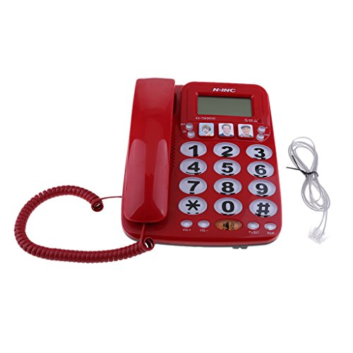 kesoto Red Fixed Telephone, Home Hotel Fast Dial Amplified Photo Phone KX-2035CID