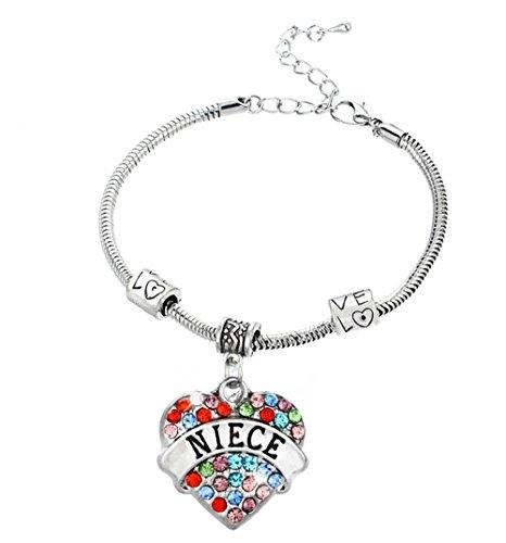 (Fusicase Bling Crystal Bling Colorful Diamond Heart Love Carve Metal Silver Family Member Bracelets(Niece))