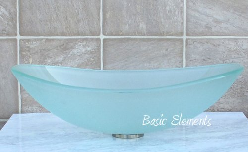 Bathroom Frosted boat Oval Glass Vessel Vanity Sink TB12F (**with free chrome pop up drain / ring**)