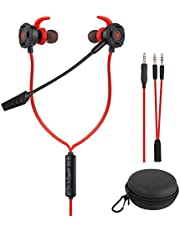 BlueFire Wired Gaming Earphone 3.5 MM E-Sport Earphone Noise Cancelling Stereo Bass Gaming Headphone with Adjustable Mic for PS4, Xbox One, Laptop, Cellphone, PC (Red)