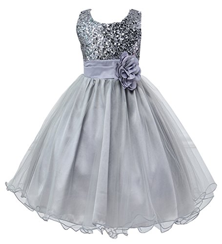 Hotone Girl Kid Princess Wedding Bridesmaid Party Formal Sequin Ball Gown Dress (5-6 Years, Sliver) -