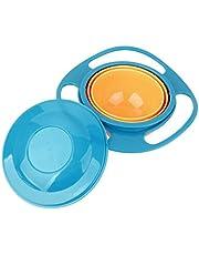 SNW Non Spill Feeding Toddler Gyro Bowl 360 Rotating Kids Avoid Food Spilling(Blue)