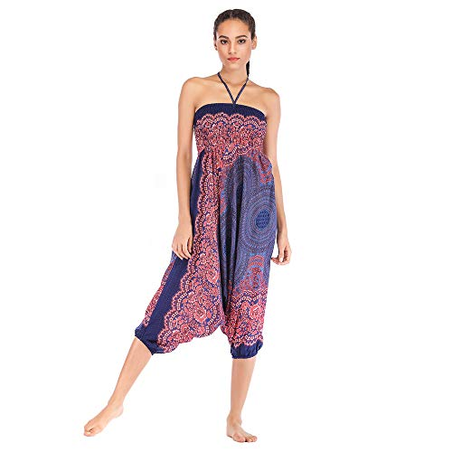 Harem Pants Women's Hippie Bohemian Yoga Pants One Size Aladdin Harem Hippie Pants Jumpsuit Smocked Waist 2 in 1 (Free, Blue) by BingYELH Yoga (Image #2)