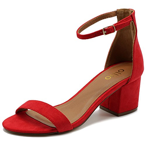 Ollio Womens Shoes Faux Suede Chunky Mid Heel Ankle Straps Heeled Sandal MG34 (10 B(M) US, Red) (Red One Strap Heels)