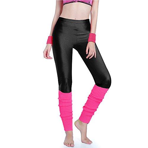 Womens Knit Cuff Pant - Kimberly's Knit Women 80s Party Neon Capri Running Workout Leggings Leg Warmers (One Size, Black+Hotpink)