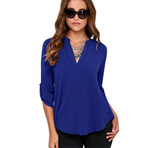 V Blu Forti Elegante Casual Taglie Bluse Chiffon Donna Autunno a Lunghe Inverno Maniche Collo in Camicie Haroty e Unicolor wTUq1xp