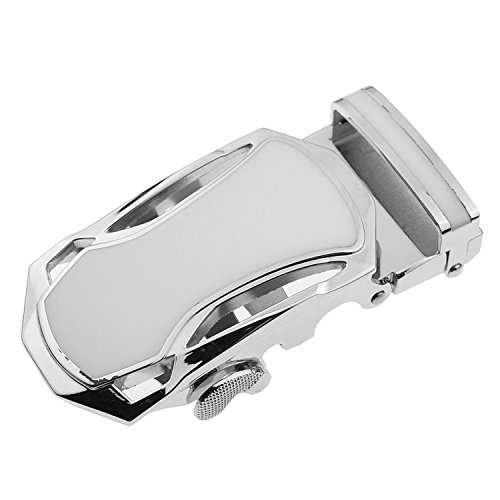 (TOOGOO(R) Men's Solid Buckle Automatic Ratchet Leather Belt Buckle With hollow-Silver)