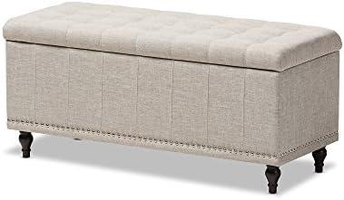 Baxton Studio Sherrill Modern Classic Beige Fabric Upholstered Button-Tufting Storage Ottoman Bench