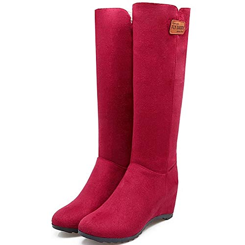 Boots Femmes Heels Claret Pull Mid Wedge Coolcept Calf On wAqXqa