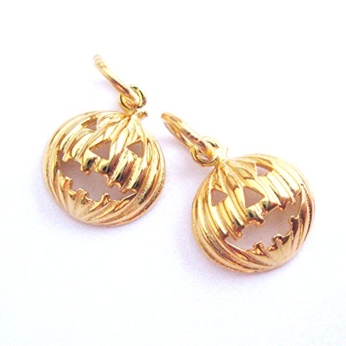 Gold plated 925 Sterling Silver Rounded Pumpkin Charm-