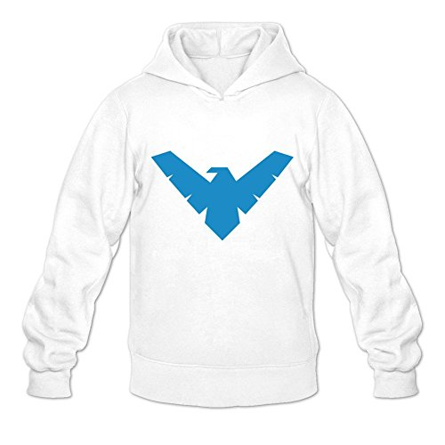 Men's Batman Nightwing Symbol Pullover Hoodie Sweatshirt XX-Large White