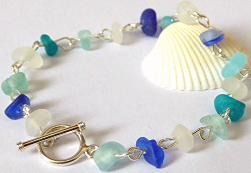 Blue Sea Glass & Sterling Silver Beaded Bracelet with Toggle Clasp B180001 Glass Beaded Toggle
