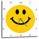 3dRose dpp_76653_3 Yellow Smiley Face Cute Traditional Happy Smilie 1960S Hippie Style Smiling on White Wall Clock, 15 by 15-Inch