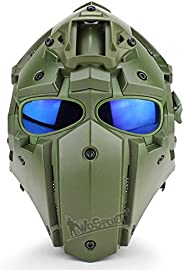 Tactical Airsoft Helmet Full Face Protective Mask Goggles Gunting Paintball Military Motorcycle Riding Role Pl