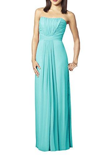 blue strapless floor length prom dress - 2