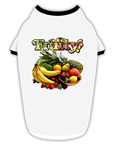 TooLoud Fruity Fruit Basket 2 Cotton Dog Shirt White with Black XL ()
