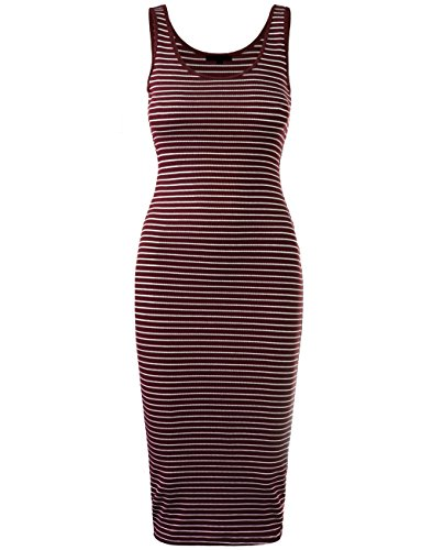 KOOLDO Womens Line Striped Rib Jersey Boat Neck Tank Top Dress-S-BURGUNDY_WHITE