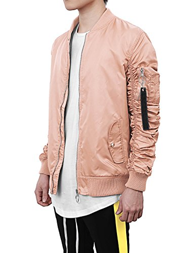 Hat and Beyond VW Mens Ruched Bomber Jacket Lightweight Waterproof Zip Up Windbreaker (Large, Vw6116_Mouve) (Ruched Pocket Jacket)