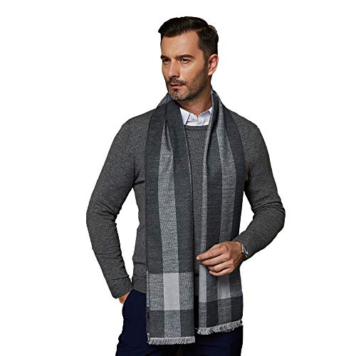 (CUDDLE DREAMS Men's Silk Scarves, 100% Mulberry Silk Brushed, Luxuriously Soft (Plaid Lt Gray))