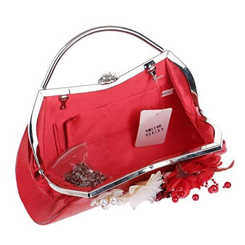 Con Tracolla Da Mano Moda Oro Per Rosso Femminile Colore Confezione Sera Donna Di Diagonale Borsa A Matrimonio Nuziale Pochette qIHzg