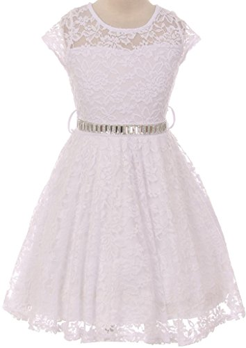 Flower Girl Dress Cap Sleeve Jewel Belt Floral Lace All Over for Big Girl White 12 JK19.88S - Print Back Tie Baby Doll