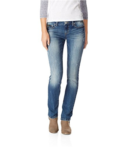 Aeropostale Womens Bayla Skinny Fit Jeans, Blue, 000 Regular