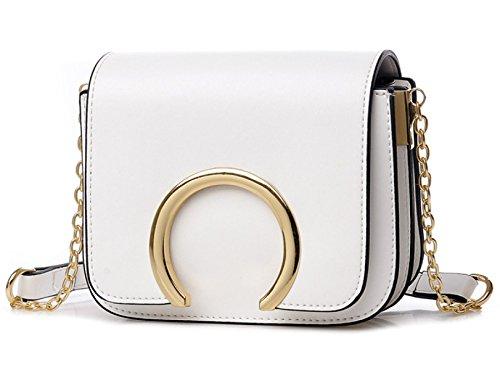 BHUE Bolso Para Mujer Casual Simple Mini Chicas Fiesta Retro Damas Moda Paquete Con Cadena De Bolsa White