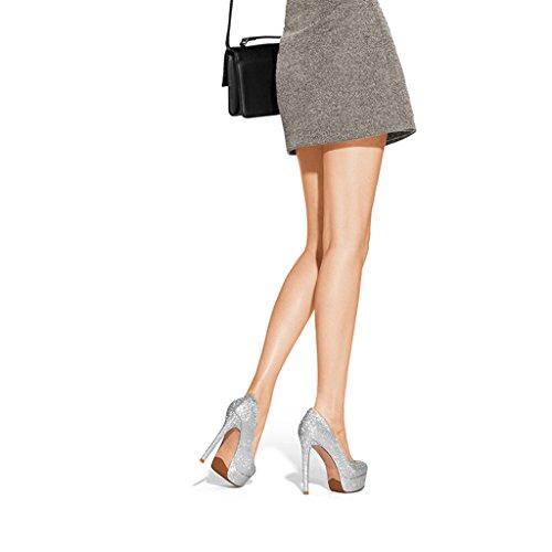 Hyun Fois La Plate-forme Étanche Avec De Hautes Chaussures Simples Chaussures Femmes De Mariage Avec Strass Et Talons Hauts En Argent Rond