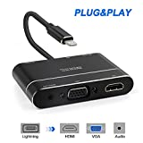 Lightning to HDMI VGA Audio Adapter Converter Cable,Lightning 8 pin to VGA & HDMI & Audio Adapter with Micro USB Power Supply Port & 3.5mm Audio Port for iPhone 8/7/6/5/iPad4/iPad mini
