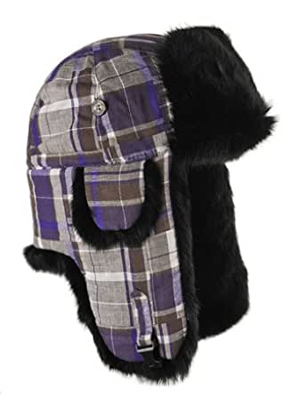 Mad Bomber Patchwork Flannel Bomber Hat with Real Fur, Purple/Brown patchwork with Black Fur, X-Large