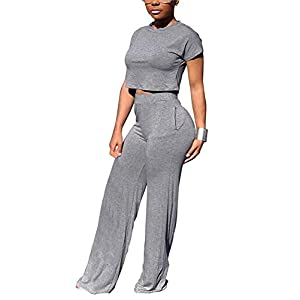 Women Casual Solid Crop Top High Waist Long Pants Sets 2 Piece Outfit with Pockets
