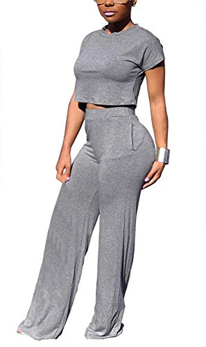 633934eb3c21 Women Solid Causal Stretchy Short Sleeve Tank Tops High Wairst Flare Long  Pants Sets